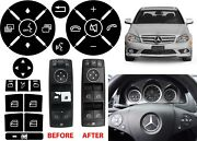 Replacement Window Switch And Steering Wheel Button Stickers For W204 Mercedes New