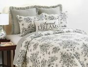 Cottage Black Rose King Quilt Set French Country Shabby Onyx Toile Nelly