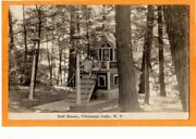 Real Photo Postcard Rppc - Girl On Stairs Of Outdoor Doll House Chenango Lake Ny