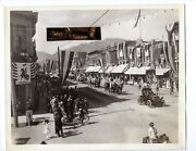 Antique 1909 Photo Usa Independence Day Parade Car Horse Flag Ad Sign Bike Women