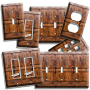 Rustic Wood Ranch Barn Door Light Switch Outlet Plate Room Cabin House Art Decor