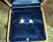 Vintage 70and039s /80and039s 18ct Gold Diamond And Sapphire Trilogy Ring