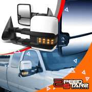 2pcs Chrome Powered Towing Mirrors+heated+led Signal For 99-02 Silverado/sierra