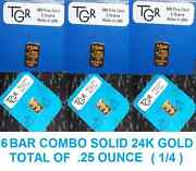 Gold 6 Bars Prepper Perfect Combo 999 Tgr Bullion 7 G Total .25 Ounce Approx .