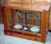 Antique Wood And Glass Case Balance Beam Scale - Brass Beam Locking Lever
