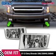 For Chevy Silverado 07-15 Factory Bumper Replacement Fit Fog Lights Clear Lens