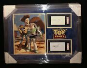 Toy Story Woody And Buzz Lightyear Tim Allen And Tom Hanks Signed Cut Framed 26x30