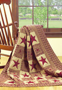 Olivia's Heartland Country Primitive Vintage Star Wine Handquilted Throw Blanket