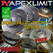 Front + Rear Cross Drilled Rotors And Pads For 2010-2011 Mercedes Benz E550 Sedan