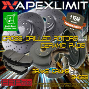 Front Drilled Rotors And Pads And Rear Drums And Shoes For 2012-2013 Chevrolet Sonic