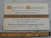 Rare 1884 Charlier Institute New York City Nyc Central Park Commencement Ticket