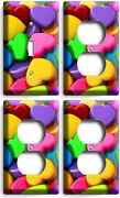 Colorful 3d Hearts Romantic 1 Light Switch 3 Outlet Wall Plates Room Home Decor