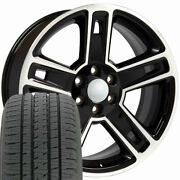 Oew Fits 22x9 Black Machand039d Face Silverado Wheels And Tire Rims Chevy