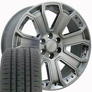 Oew Fits 22x9 Hyper Black And Chrome Silverado Wheels And Tires 22 Rims Gmc