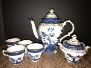 Royal Doulton China Booths And039real Old Willowand039 Tc1126 Teapot 4 Cups And Sugar