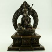Finely Hand Carved 13.5 Guru Rinpoche Oxidized Copper Alloy Statue Patan Nepal