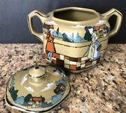 Buffalo Pottery Deldare Sugar Bowl And Saucer Signed R. Wase