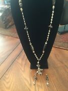 Sterling Silver Necklace Pendant Earrings Anchor Links / Polished Multi Stones