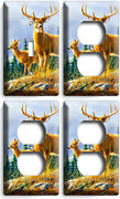 Whitetail Deer Buck 1 Light Switch 3 Outlet Wall Plates Hunting Cabin Room Decor