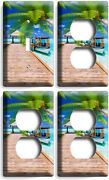 Caribbean Sea Palms Pier Boat 1 Light Switch 3 Outlet Wall Plates Bathroom Decor