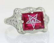 Antique 14k White Gold Ruby Order Of Eastern Star Masonic Ring Aands Ladies Size 6