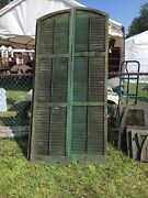 Tall Pair C1890 Arched Top Window House Shutter Panels 93 X 22.5 W Old Green