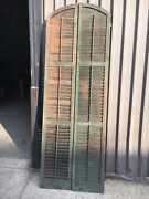 Tall Pair C1890 Arched Top Window House Shutter Panels 93 X 16 W Old Green - B