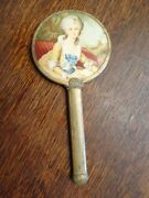 Antique Porcelain Colonial Lady Gold Toned Hand Mirror W/beveled Glass So Pretty