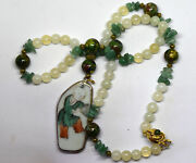 Antique Chinese White Jade, Cloisonne And Porcelain Pendant Necklace