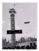 Vintage 1937 Photo Paris Exposition Opening Day Blimp Zeppelin Airship Flag Expo