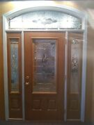 Beautiful Solid Walnut Stained Pella Wooden Door With Side Windows.