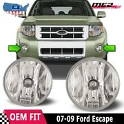 For Ford Escape 07-12 Bumper Driving Fog Lights Lamps Replacement Pair Clear