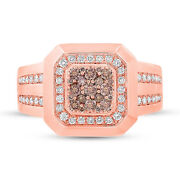 Mens 0.86ct 14k Rose Gold Natural Champagne And White Diamond Cocktail Ring