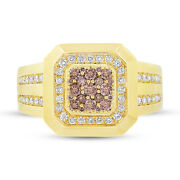0.86ct 14k Yellow Gold Natural Champagne And White Diamond Mens Cocktail Ring