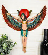 Large Ancient Egyptian Goddess Isis Ra With Open Wings Wall Decor Statue Plaque