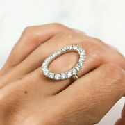 18k White Gold Diamond Open Oval Halo Cocktail Ring Concave Round Cut 1.40 Ct