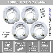 Lot Of 4 150ft Samsung Wisenet Compatible Hd Cable F/ 5mp Sdh-c85105 Sdh-c84080