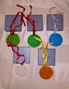Lalique Crystal Christmas Ornament Set Of 5 Holly And Mistletoe Diff Colors