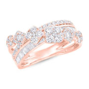 1.18 Ct 14k Rose Gold Baguette Round Cut Diamond Crossover X Cocktail Wrap Ring