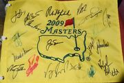 Jack Nicklaus Spieth Mickelson Crenshaw Scott Reed Signed 09 Masters Chmps Flag