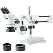 Koppace 3.5x-90x Binocular Stereo Microscope Double-arm Boom Stand 144 Led Ring