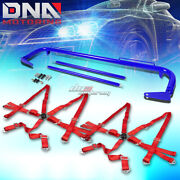 Blue 49stainless Steel Chassis Harness Rod+red 6-pt Strap Camlock Seat Belt