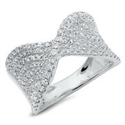 Womens 0.99ct 14k White Gold Diamond Crossover Cocktail Right Hand Twist Ring