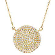 0.47ct 14k Yellow Gold Natural Round Diamond Pave Circle Disc Pendant Necklace
