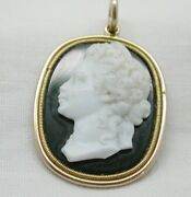 Fabulous Early Antique 15 Carat Gold Hard Stone Cameo And Bloodstone Pendant