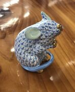 Herend Hungary Blue Mouse Figurine Signed 24k Gold Accents Flawless
