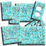 Turquoise Marble Stone Look Light Switch Outlet Wall Plates Room Bathroom Decor