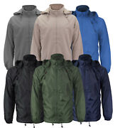Menand039s Lined Hooded Windbreaker Water Resistant Polar Fleece Rain Coat Jacket