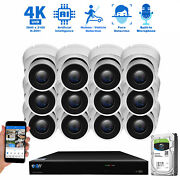 16 Channel Nvr 12 X 4k Outdoor Indoor Microphone Turret Security Camera System