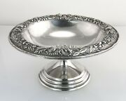 S Kirk And Son Repousse Floral Sterling Silver Compote Footed Bowl Dish 436f